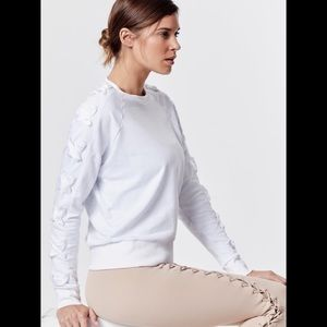 Carbon38 White Ribbon Lace up Sleeve Sweatshirt S